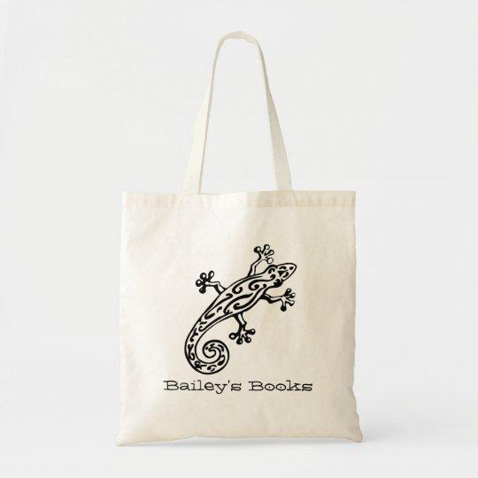 Gecko named black & white library book bag