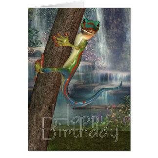 Gecko On A Tree Birthday Card