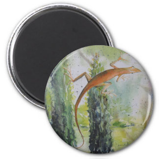 Gecko on the Window Screen 6 Cm Round Magnet