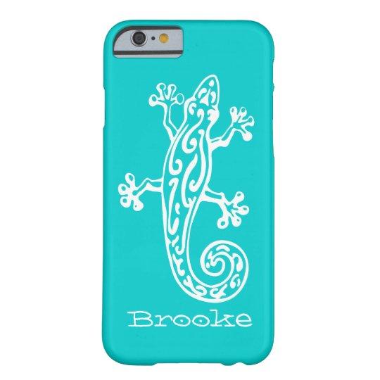 Gecko reptile white & aqua name iPhone 6