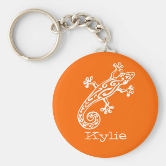Gecko reptile white & orange named keychain