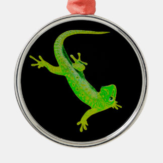 Gecko Silver-Colored Round Decoration