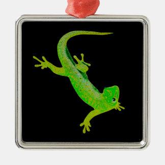 Gecko Silver-Colored Square Decoration