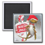 Gecko Visits North Pole gifts Magnet