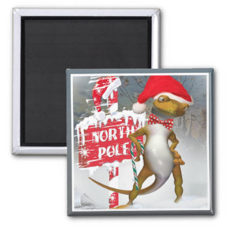 Gecko Visits North Pole gifts Square Magnet