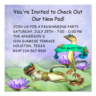 Gecko Water Lily Pad Fun Housewarming Party 13 Cm X 13 Cm Square Invitation Card
