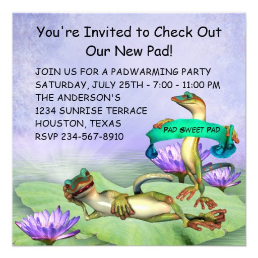 Gecko Water Lily Pad Fun Housewarming Party Personalized Invitations