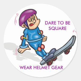GEDC0305, Dare to be square, Wear helmet gear Round Sticker