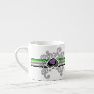 Geebot's aromantic pride spade logo espresso cup