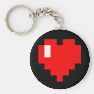 Geek <3 basic round button key ring