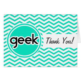 Geek; Aqua Green Chevron Note Card