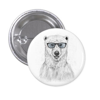 Geek bear (blue) 3 cm round badge