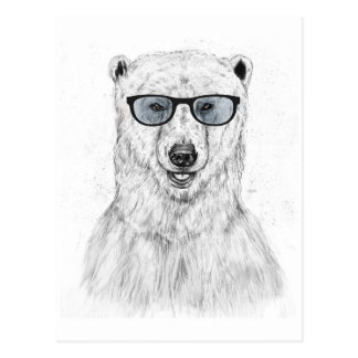 Geek bear (blue) postcard