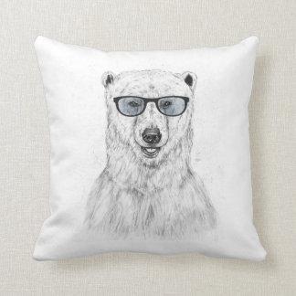 Geek bear (blue) throw pillow