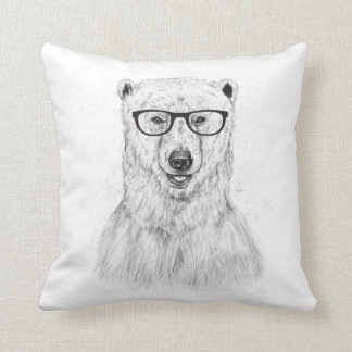 Geek bear throw pillow