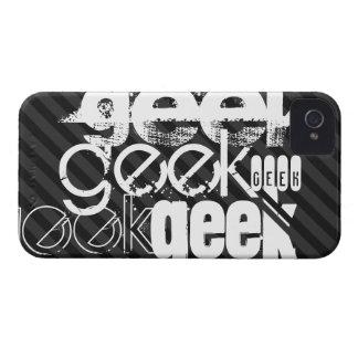 Geek; Black & Dark Gray Stripes iPhone 4 Cases