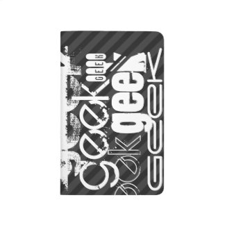 Geek; Black & Dark Gray Stripes Journals