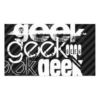 Geek; Black & Dark Gray Stripes Pack Of Standard Business Cards