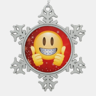 Geek Braces Christmas Emoji Face Gift Snowflake Pewter Christmas Ornament
