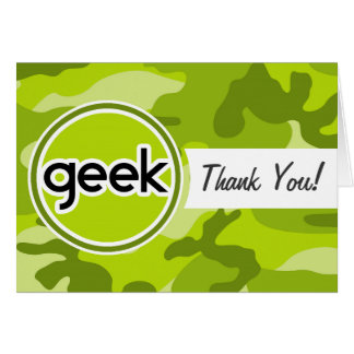 Geek; bright green camo, camouflage cards