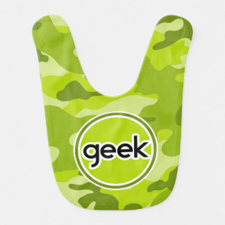 Geek bright green camo camouflage bibs