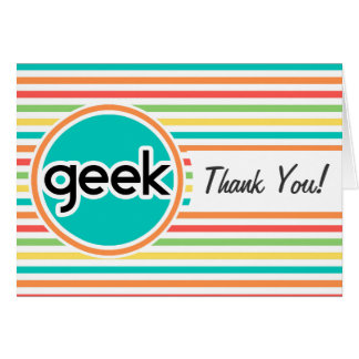 Geek, Bright Rainbow Stripes Stationery Note Card