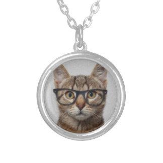 Geek Cat Round Pendant Necklace