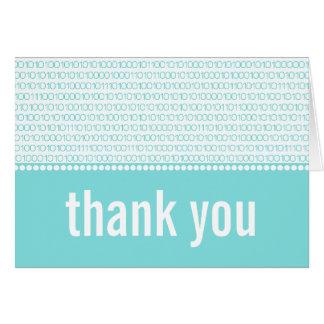 Geek Chic Binary Code Thank You Card, Aqua Note Card