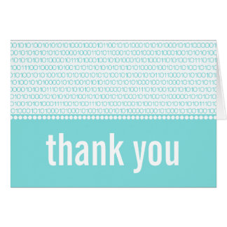 Geek Chic Binary Code Thank You Card, Aqua Card