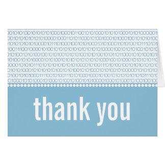 Geek Chic Binary Code Thank You Card, Blue Card