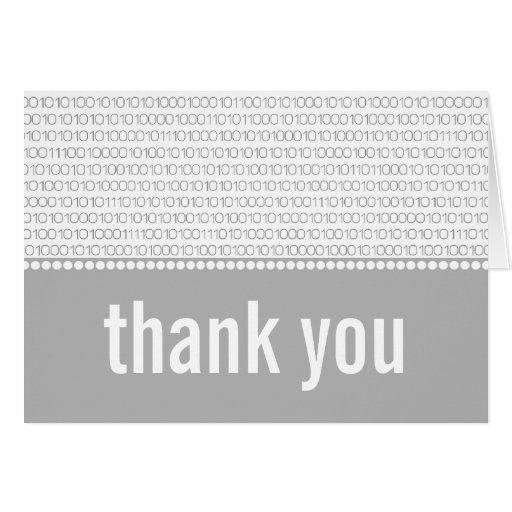 Geek Chic Binary Code Thank You Card, Gray