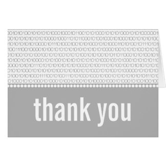 Geek Chic Binary Code Thank You Card, Gray Card