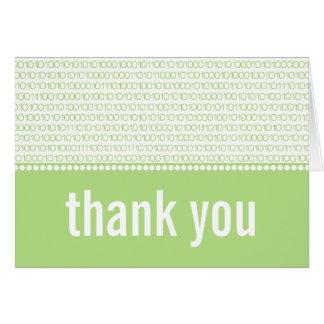 Geek Chic Binary Code Thank You Card, Green Note Card
