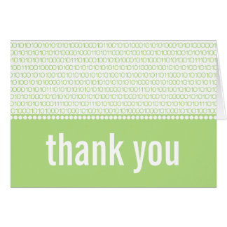 Geek Chic Binary Code Thank You Card, Green Note Card