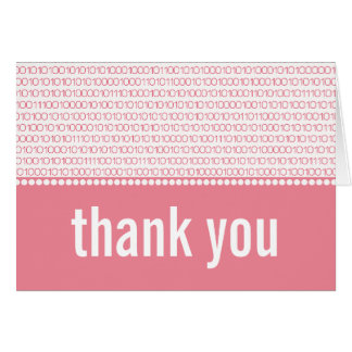 Geek Chic Binary Code Thank You Card, Pink Note Card