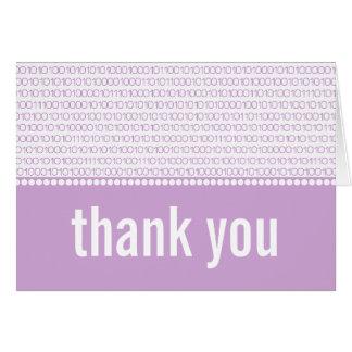 Geek Chic Binary Code Thank You Card, Purple Note Card