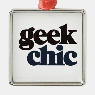 Geek Chic Silver-Colored Square Decoration