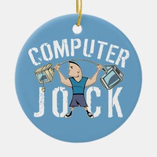 Geek Computer Jock Round Ceramic Decoration