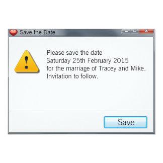 Geek Error Message Save the Date Invitation Grey