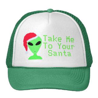 Geek Fun Alien Take Me To Your Santa Holiday Cap Trucker Hats