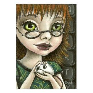 geek girl and her pet mouse business card templates