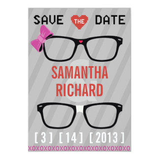 Geek Glasses  & Hearts Wedding Save the Date 13 Cm X 18 Cm Invitation Card