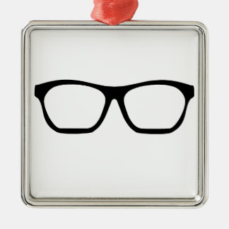 Geek Glasses Silver-Colored Square Decoration
