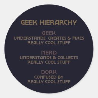 Geek Hierarchy (Bronzed) Classic Round Sticker