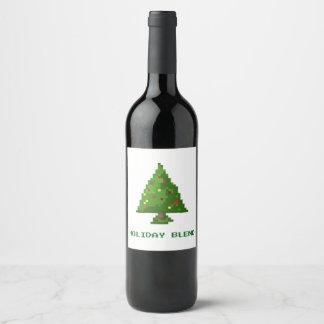 Geek Holiday 8Bit Pixel Wine Label