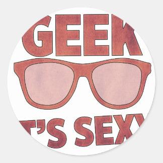 geek it's sexy classic round sticker