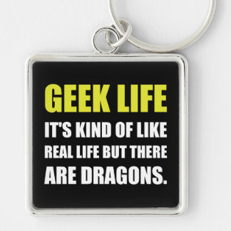 Geek Life Dragons Silver-Colored Square Key Ring