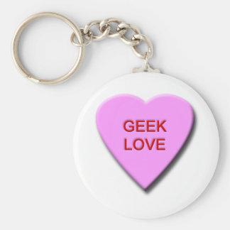 Geek Love Basic Round Button Key Ring