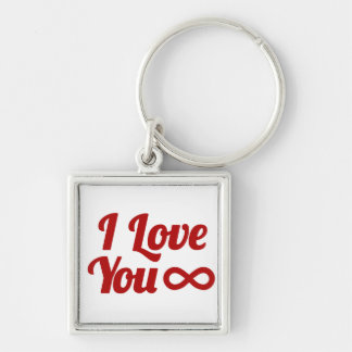Geek Love Silver-Colored Square Key Ring