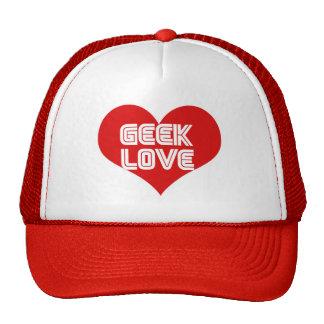 Geek Love Valentines Day Heart Trucker Hats